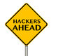Hackers ahead traffic sign on a white background Royalty Free Stock Photography