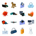 Hackers and hacking set icons in cartoon style. Big collection of hackers and hacking vector symbol stock illustration