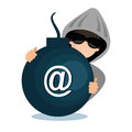 hacking data mail server icon Royalty Free Stock Photo