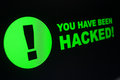 Hacking you have been hacked sign on lcd screen Royalty Free Stock Photography