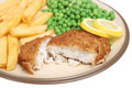 Haddock, Chips and Peas Stock Images