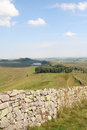 Hadrian s wall from green slack summit a section of hadrians climbing over in the winshield crags in northumberland england the Royalty Free Stock Photo