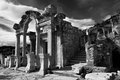 Hadrian temple in ephesus a dramatic black and white photo of roman ruins Stock Image