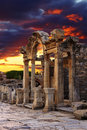 Hadrian temple in ephesus near celcuk turkey Royalty Free Stock Images