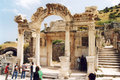 Hadrian temple the ruins of the ancient hadryan at ephesus in turkey Royalty Free Stock Images