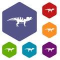 Hadrosaurid dinosaur icons set hexagon