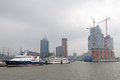 Hafencity Hamburg in fog Royalty Free Stock Photo
