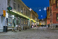 Haga Nygata street with Christmas illuminations in Gothenburg Royalty Free Stock Photo