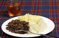 Haggis meal and whisky Royalty Free Stock Images