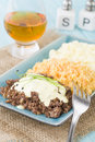 Haggis neeps tatties traditional scottish meal commonly served at burns night served with a dram Royalty Free Stock Image