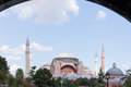 Hagia sophia as seen from the blue mosque main gate of Royalty Free Stock Image