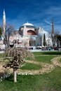 Hagia sophia in daylight with park and blue sky Stock Photo