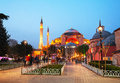 Hagia sophia in istanbul turkey early in the evening april with tourists on april is a former orthodox patriarchal basilica church Royalty Free Stock Photography