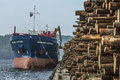 Hagland captain unloads timber on the quay at the port of halden norway some facts about vessel type general cargo Royalty Free Stock Photos