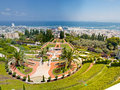 Haifa Bahai Garden panorama Stock Photos