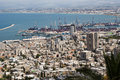 Haifa downtown and haifa bay a view from mt carmel to the north toward israel can see the port the north tip of the acre Royalty Free Stock Images
