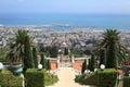 Haifa Port & Bahai Gardens, Mount Carmel Royalty Free Stock Photo