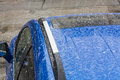 Hail on a car roof. Royalty Free Stock Photo