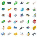 Hail icons set, isometric style Royalty Free Stock Photo