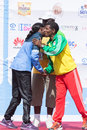 Haile Gebrselassie and Priscah Jeptoo Royalty Free Stock Photo