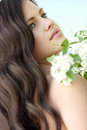 Hair beautiful young girl with flowers Royalty Free Stock Image