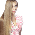 Hair beauty portrait of young beautiful woman with long glossy blond Royalty Free Stock Photos