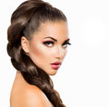 Hair braid beautiful woman with healthy long Royalty Free Stock Photo