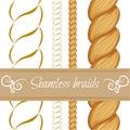 Hair braided  on white. Seamless twist Royalty Free Stock Photo