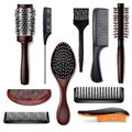 Hair brush vector hairstyling comb or hairbrush and haircare accessory in barber salon illustration set of hairstyle