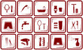 Hair care and bathroom icons set red objects Stock Photo