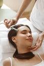 Hair Care. Beautiful Woman Receiving Brushing Beauty Treatment Royalty Free Stock Photo