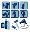Hair care set of vector icons Royalty Free Stock Photos