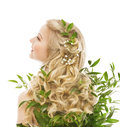 Hair Care, Woman Long Hair and Organic Leaves, Model Rear View