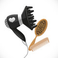 Hair dryer with diffuser and combs isolated on a white background Stock Photography