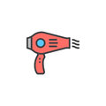 Hair dryer line icon, filled outline vector sign, linear colorful pictogram isolated on white.