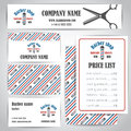 Hair salon barber shop vintage business cards and prices design template set Royalty Free Stock Photo
