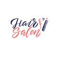Hair Salon. Logo Beauty Vector Lettering. Custom handmade calligraphy. Vector Illustation