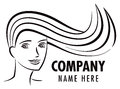 Hair salon logo a icon of a woman with flowing Stock Photos