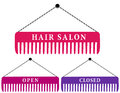 Hair salon sign with comb set of signs pink and text Royalty Free Stock Photography