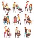 Hair Salon Treatments Cartoon Icons