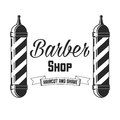 Hair salon vector labels in vintage style. Hair cut beauty and barber shop. Vintage logo on white background.