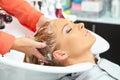 Hair salon. Washing with shampoo. Royalty Free Stock Photo