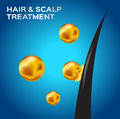 Hair scalp treatment hair conditioner on blue background Royalty Free Stock Photo