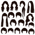 Hair silhouettes, woman hairstyle Royalty Free Stock Photo
