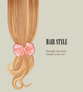 Hair style background vector set poster or visit card brlond blondy dress with bow ribbon Stock Photos