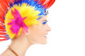 Hair style a portrait of a happy woman in a colorful makeup posing over white background Royalty Free Stock Photos