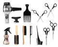 Hair styling tools collection of salon isolated on white background Royalty Free Stock Images