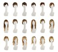 Hair wig over the mannequin head set Royalty Free Stock Photo