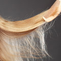 Haircare concept straight blonde hair with comb closeup wooden Stock Photography