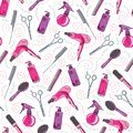 Hair craft vector seamless pattern. Hair cut professional salon background in colors of pink, purple and grey